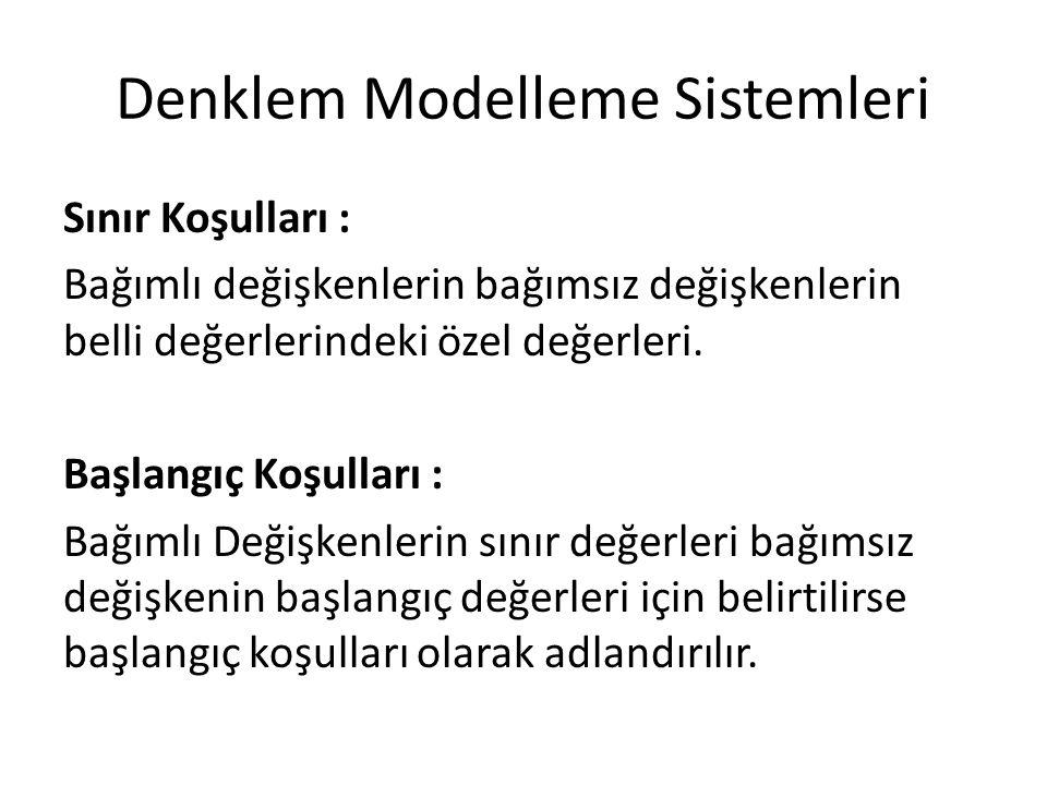 Denklem Modelleme Sistemleri Sınır Koşulları : Bağımlı değişkenlerin bağımsız değişkenlerin belli değerlerindeki özel değerleri. Başlangıç Koşulları :