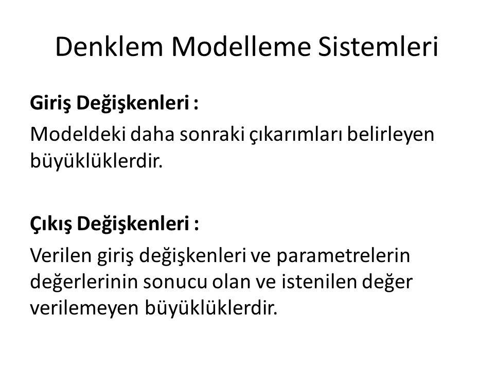 Denklem Modelleme Sistemleri Giriş Değişkenleri : Modeldeki daha sonraki çıkarımları belirleyen büyüklüklerdir. Çıkış Değişkenleri : Verilen giriş değ