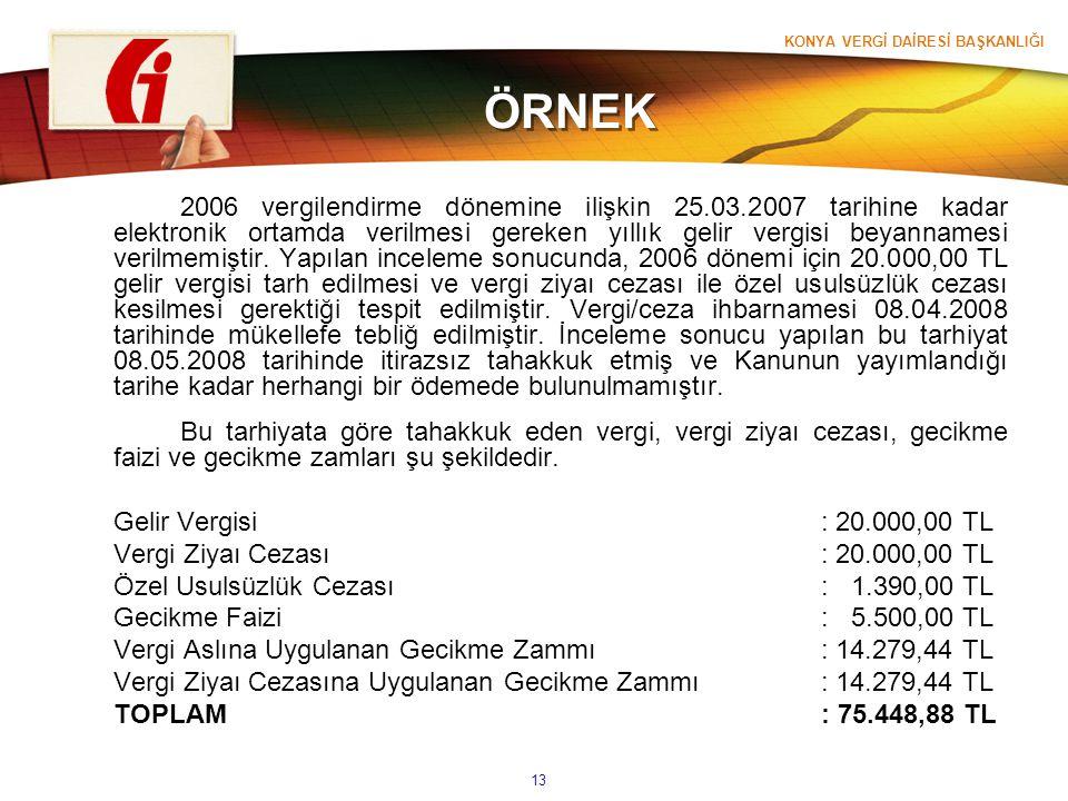 KONYA VERGİ DAİRESİ BAŞKANLIĞI 13 ÖRNEK 2006 vergilendirme dönemine ilişkin 25.03.2007 tarihine kadar elektronik ortamda verilmesi gereken yıllık geli