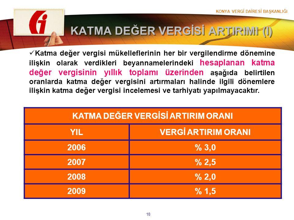 KONYA VERGİ DAİRESİ BAŞKANLIĞI 18 KATMA DEĞER VERGİSİ ARTIRIMI (I) Katma değer vergisi mükelleflerinin her bir vergilendirme dönemine ilişkin olarak v