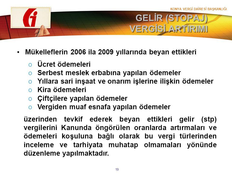 KONYA VERGİ DAİRESİ BAŞKANLIĞI 19 GELİR (STOPAJ) VERGİSİ ARTIRIMI Mükelleflerin 2006 ila 2009 yıllarında beyan ettikleri oÜcret ödemeleri oSerbest mes