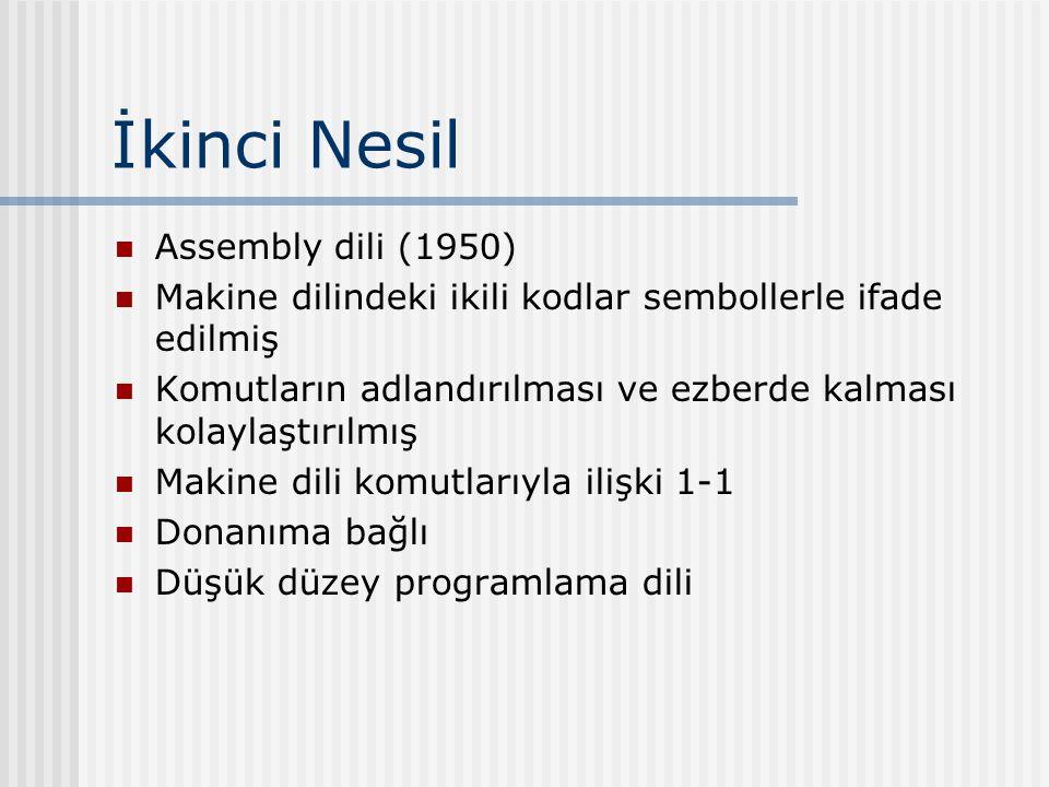 İkinci Nesil Assembly dili (1950) Makine dilindeki ikili kodlar sembollerle ifade edilmiş Komutların adlandırılması ve ezberde kalması kolaylaştırılmış Makine dili komutlarıyla ilişki 1-1 Donanıma bağlı Düşük düzey programlama dili