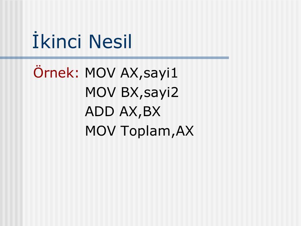İkinci Nesil Örnek: MOV AX,sayi1 MOV BX,sayi2 ADD AX,BX MOV Toplam,AX