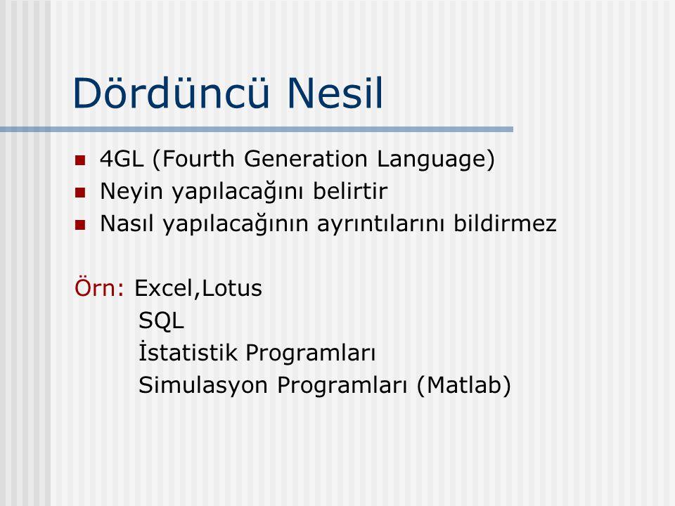 Dördüncü Nesil 4GL (Fourth Generation Language) Neyin yapılacağını belirtir Nasıl yapılacağının ayrıntılarını bildirmez Örn: Excel,Lotus SQL İstatistik Programları Simulasyon Programları (Matlab)