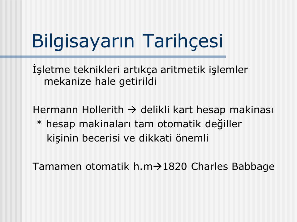Bilgisayarın Tarihçesi İşletme teknikleri artıkça aritmetik işlemler mekanize hale getirildi Hermann Hollerith  delikli kart hesap makinası * hesap makinaları tam otomatik değiller kişinin becerisi ve dikkati önemli Tamamen otomatik h.m  1820 Charles Babbage