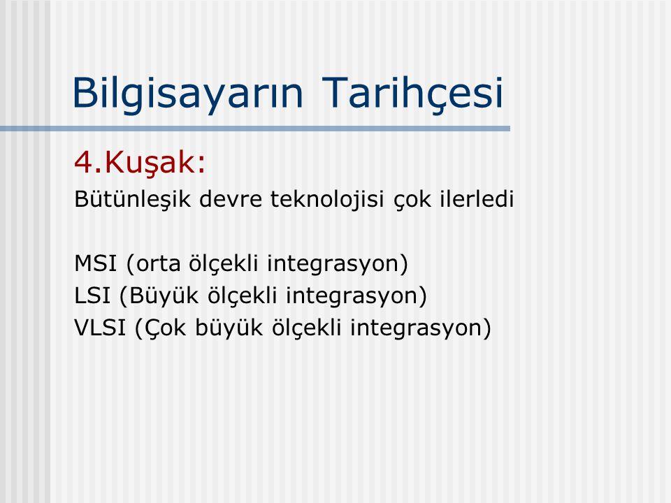 Bilgisayarın Tarihçesi 4.Kuşak: Bütünleşik devre teknolojisi çok ilerledi MSI (orta ölçekli integrasyon) LSI (Büyük ölçekli integrasyon) VLSI (Çok büyük ölçekli integrasyon)