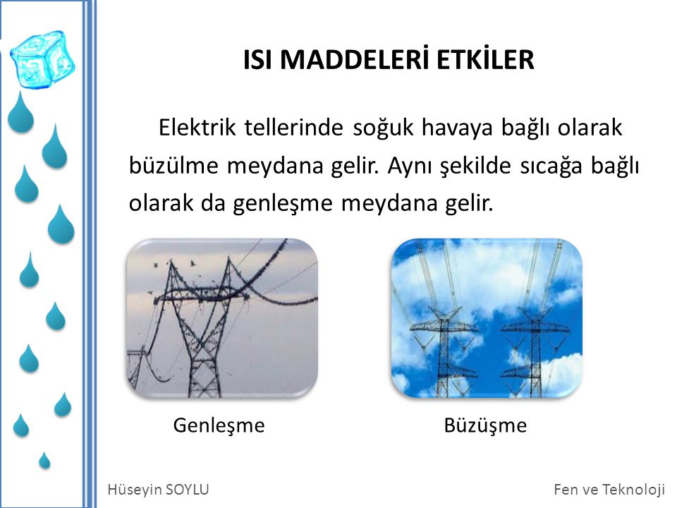 Fen ve TeknolojiHüseyin SOYLU ISI MADDELERİ ETKİLER Elektrik tellerinde soğuk havaya bağlı olarak büzülme meydana gelir.