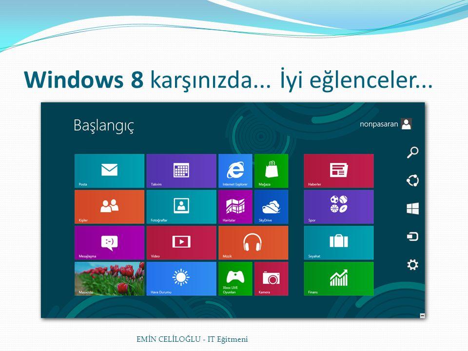 Windows 8 karşınızda... İyi eğlenceler... EMİN CELİLOĞLU - IT Eğitmeni