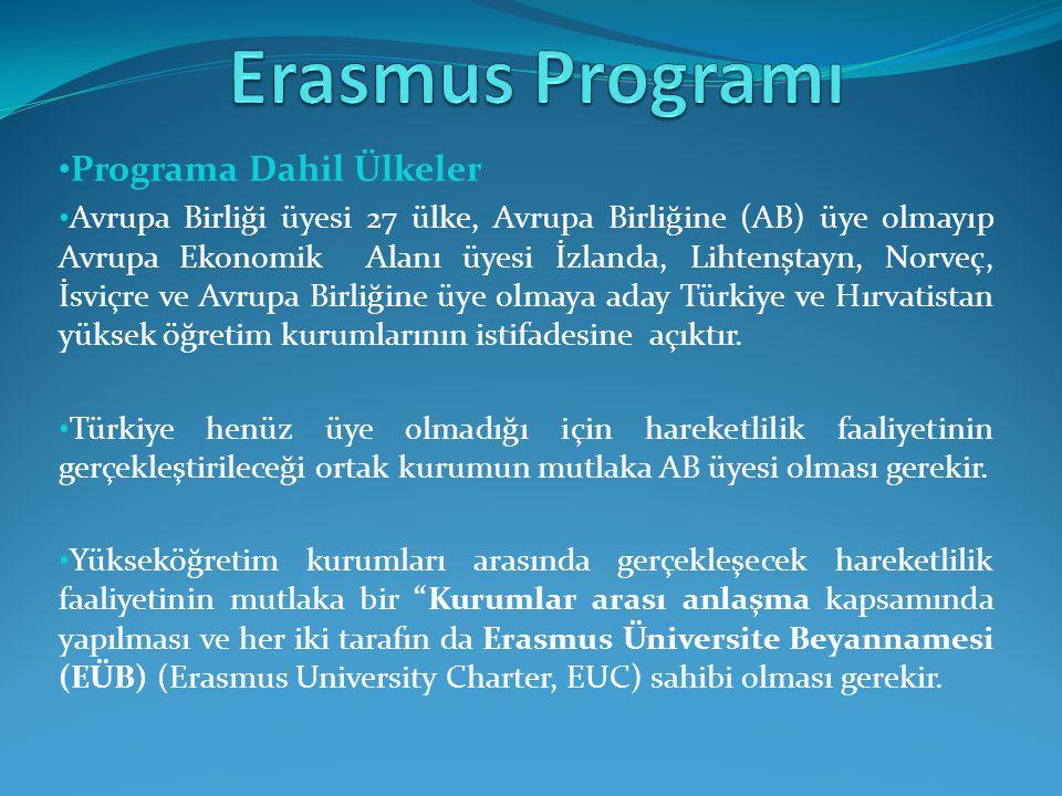 Programa Dahil Ülkeler Avrupa Birliği üyesi 27 ülke, Avrupa Birliğine (AB) üye olmayıp Avrupa Ekonomik Alanı üyesi İzlanda, Lihtenştayn, Norveç, İsviçre ve Avrupa Birliğine üye olmaya aday Türkiye ve Hırvatistan yüksek öğretim kurumlarının istifadesine açıktır.