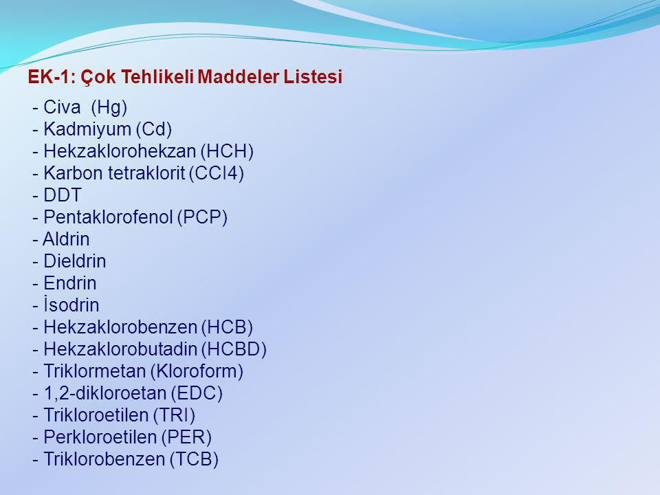 EK-1: Çok Tehlikeli Maddeler Listesi - Civa (Hg) - Kadmiyum (Cd) - Hekzaklorohekzan (HCH) - Karbon tetraklorit (CCI4) - DDT - Pentaklorofenol (PCP) -