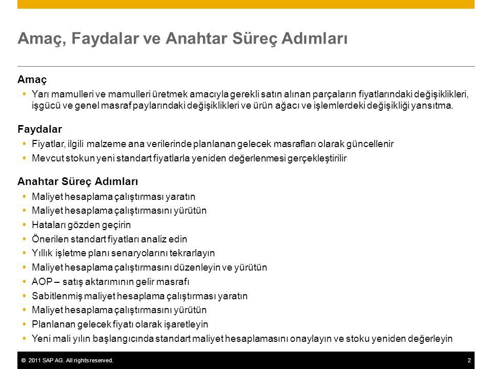 ©2011 SAP AG. All rights reserved.2 Amaç, Faydalar ve Anahtar Süreç Adımları Amaç  Yarı mamulleri ve mamulleri üretmek amacıyla gerekli satın alınan