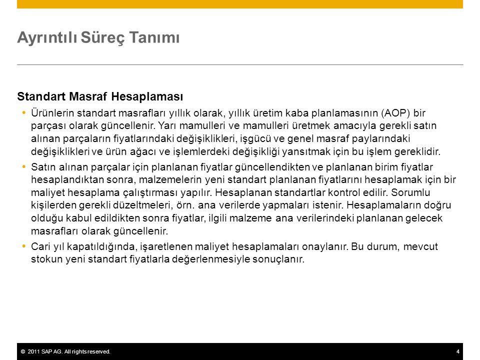 ©2011 SAP AG. All rights reserved.4 Ayrıntılı Süreç Tanımı Standart Masraf Hesaplaması  Ürünlerin standart masrafları yıllık olarak, yıllık üretim ka