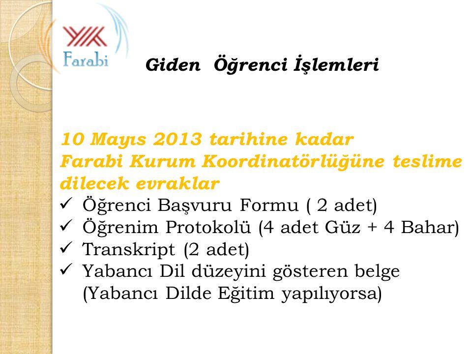 10 Mayıs 2013 tarihine kadar Farabi Kurum Koordinatörlüğüne teslime dilecek evraklar Öğrenci Başvuru Formu ( 2 adet) Öğrenim Protokolü (4 adet Güz + 4