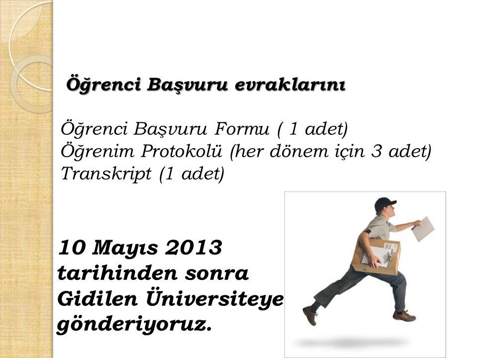 Öğrenci Başvuru evraklarını Öğrenci Başvuru Formu ( 1 adet) Öğrenim Protokolü (her dönem için 3 adet) Transkript (1 adet) 10 Mayıs 2013 tarihinden son
