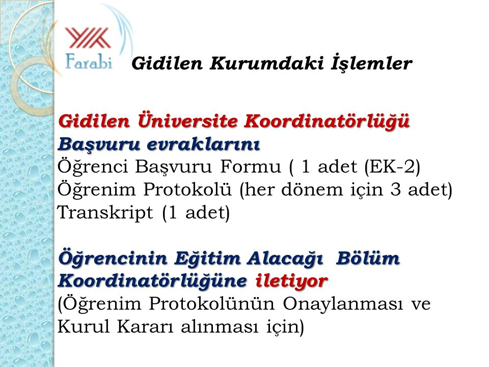 Gidilen Üniversite Koordinatörlüğü Başvuru evraklarını Öğrenci Başvuru Formu ( 1 adet (EK-2) Öğrenim Protokolü (her dönem için 3 adet) Transkript (1 a