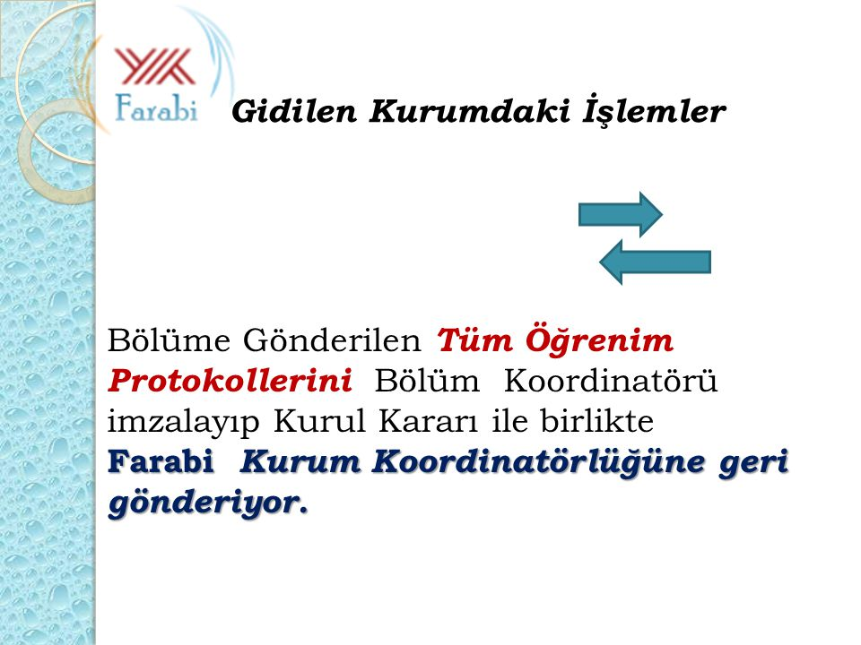 Bölüme Gönderilen Tüm Öğrenim Protokollerini Bölüm Koordinatörü imzalayıp Kurul Kararı ile birlikte Farabi Kurum Koordinatörlüğüne geri gönderiyor. Gi
