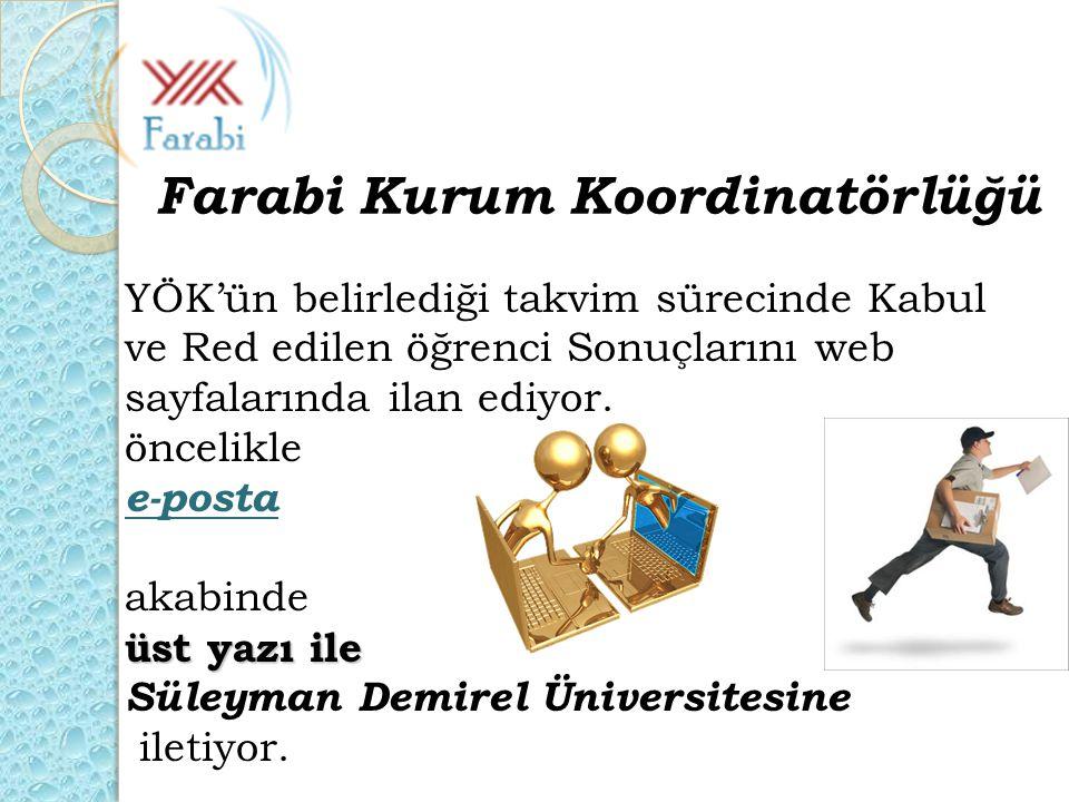 YÖK'ün belirlediği takvim sürecinde Kabul ve Red edilen öğrenci Sonuçlarını web sayfalarında ilan ediyor. öncelikle e-posta akabinde üst yazı ile Süle