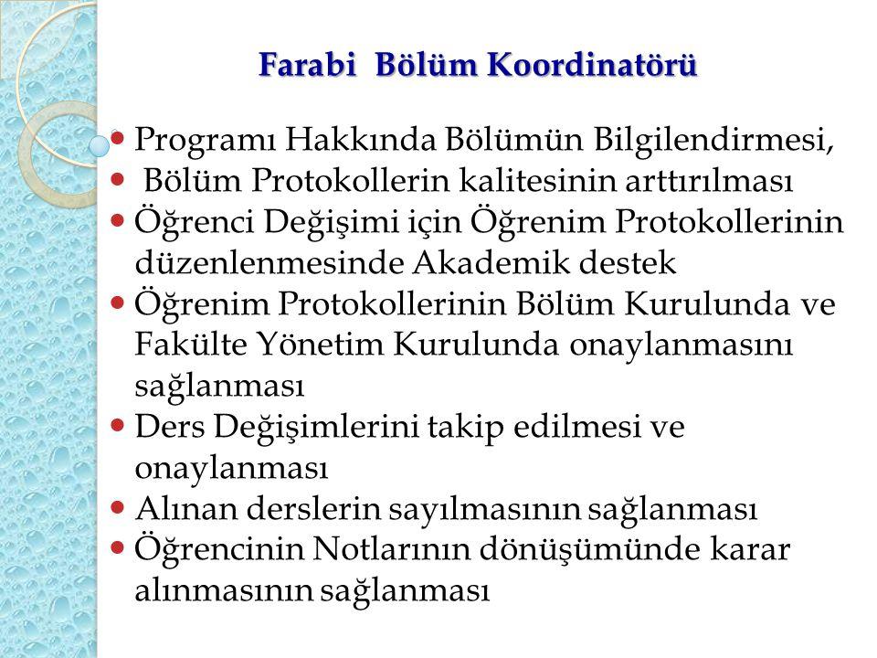 Farabi Bölüm Koordinatörü Programı Hakkında Bölümün Bilgilendirmesi, Bölüm Protokollerin kalitesinin arttırılması Öğrenci Değişimi için Öğrenim Protok