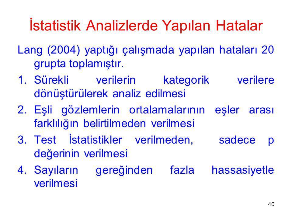 İstatistik Analizlerde Yapılan Hatalar Lang (2004) yaptığı çalışmada yapılan hataları 20 grupta toplamıştır.