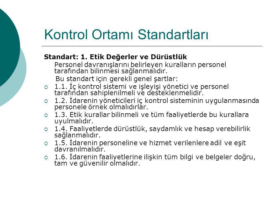 Kontrol Ortamı Standartları Standart: 1. Etik Değerler ve Dürüstlük Personel davranışlarını belirleyen kuralların personel tarafından bilinmesi sağlan