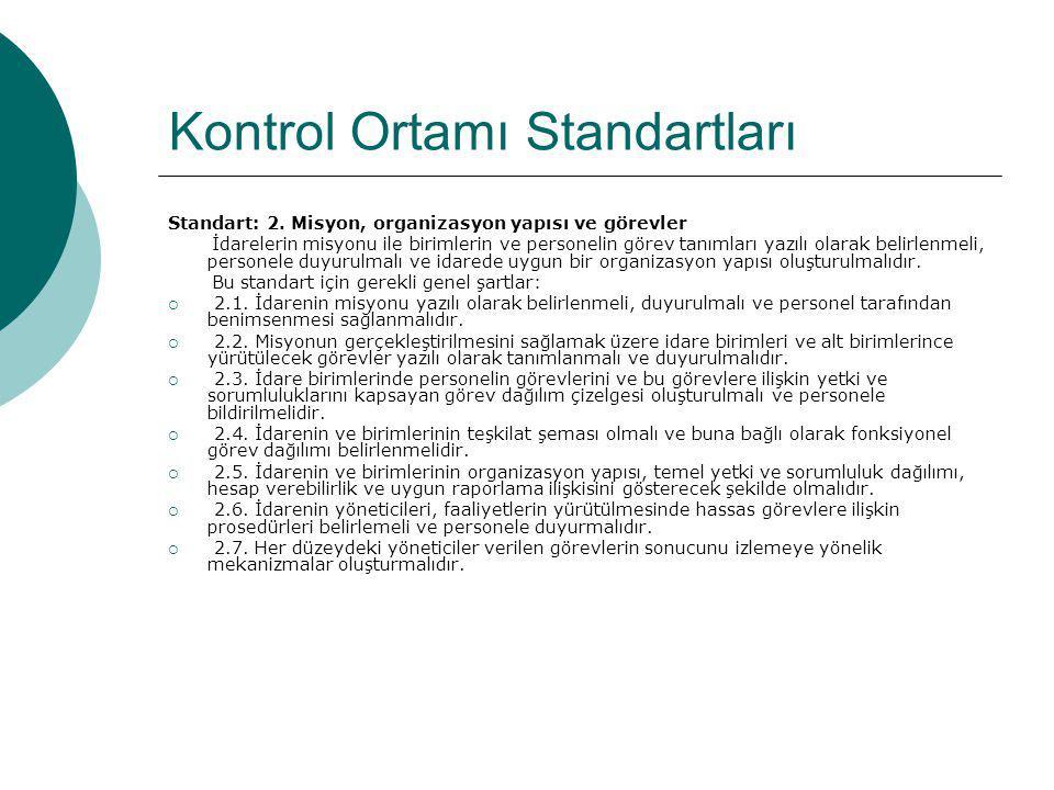 Kontrol Ortamı Standartları Standart: 2. Misyon, organizasyon yapısı ve görevler İdarelerin misyonu ile birimlerin ve personelin görev tanımları yazıl