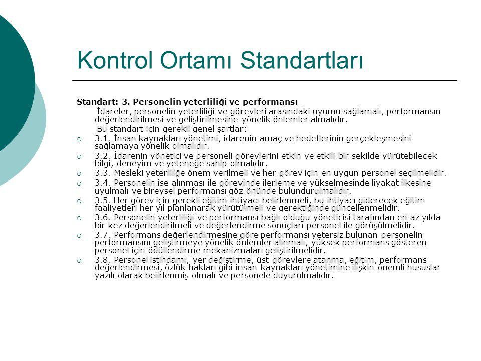 Kontrol Ortamı Standartları Standart: 3. Personelin yeterliliği ve performansı İdareler, personelin yeterliliği ve görevleri arasındaki uyumu sağlamal