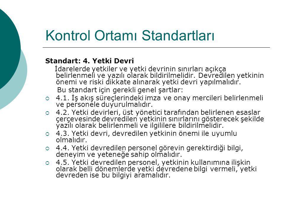 Kontrol Ortamı Standartları Standart: 4. Yetki Devri İdarelerde yetkiler ve yetki devrinin sınırları açıkça belirlenmeli ve yazılı olarak bildirilmeli