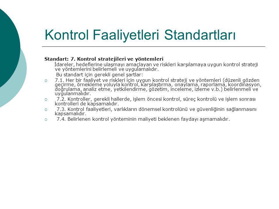 Kontrol Faaliyetleri Standartları Standart: 7. Kontrol stratejileri ve yöntemleri İdareler, hedeflerine ulaşmayı amaçlayan ve riskleri karşılamaya uyg