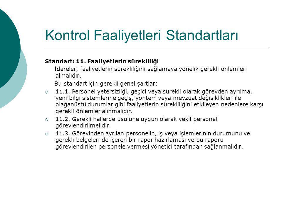 Kontrol Faaliyetleri Standartları Standart: 11. Faaliyetlerin sürekliliği İdareler, faaliyetlerin sürekliliğini sağlamaya yönelik gerekli önlemleri al
