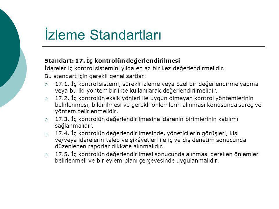 İzleme Standartları Standart: 17. İç kontrolün değerlendirilmesi İdareler iç kontrol sistemini yılda en az bir kez değerlendirmelidir. Bu standart içi