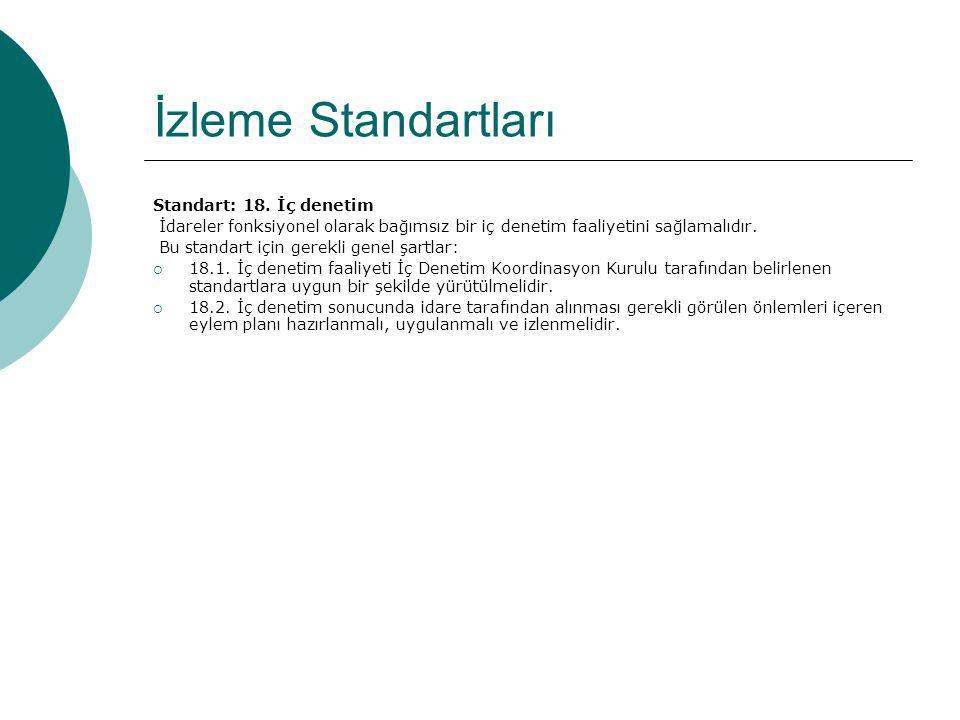 İzleme Standartları Standart: 18. İç denetim İdareler fonksiyonel olarak bağımsız bir iç denetim faaliyetini sağlamalıdır. Bu standart için gerekli ge