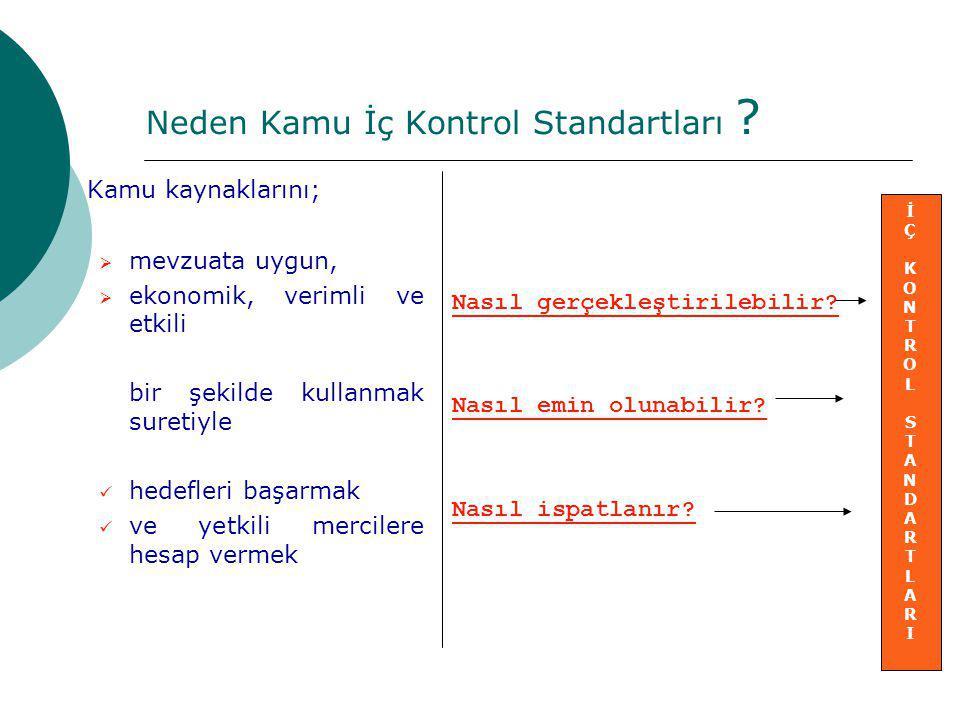 Neden Kamu İç Kontrol Standartları ? Kamu kaynaklarını;  mevzuata uygun,  ekonomik, verimli ve etkili bir şekilde kullanmak suretiyle hedefleri başa