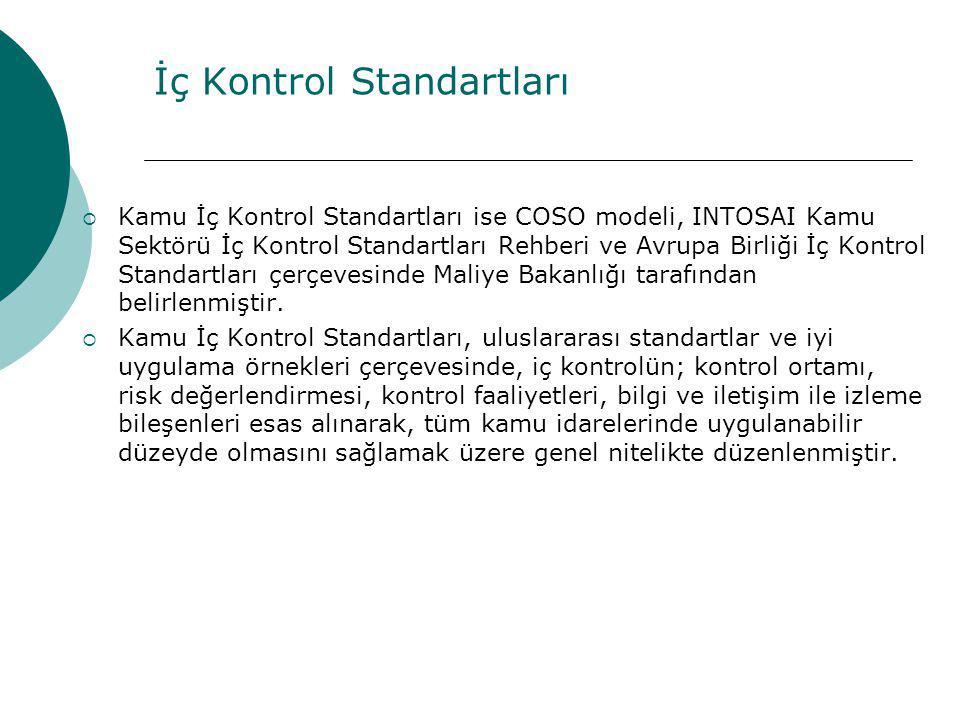 İç Kontrol Standartları  Kamu İç Kontrol Standartları ise COSO modeli, INTOSAI Kamu Sektörü İç Kontrol Standartları Rehberi ve Avrupa Birliği İç Kont