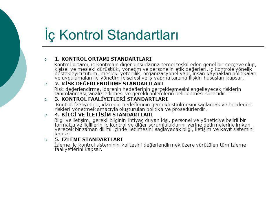İç Kontrol Standartları  1. KONTROL ORTAMI STANDARTLARI Kontrol ortamı, iç kontrolün diğer unsurlarına temel teşkil eden genel bir çerçeve olup, kişi