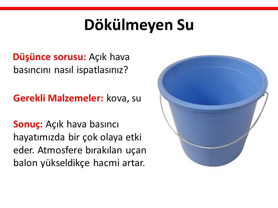 Dökülmeyen Su Düşünce sorusu: Açık hava basıncını nasıl ispatlasınız? Gerekli Malzemeler: kova, su Sonuç: Açık hava basıncı hayatımızda bir çok olaya