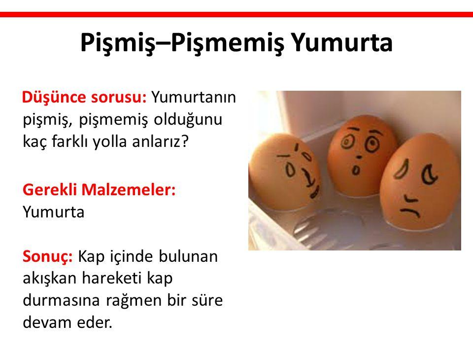 Pişmiş–Pişmemiş Yumurta Düşünce sorusu: Yumurtanın pişmiş, pişmemiş olduğunu kaç farklı yolla anlarız? Gerekli Malzemeler: Yumurta Sonuç: Kap içinde b