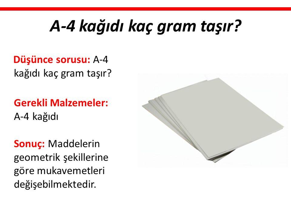 A-4 kağıdı kaç gram taşır? Düşünce sorusu: A-4 kağıdı kaç gram taşır? Gerekli Malzemeler: A-4 kağıdı Sonuç: Maddelerin geometrik şekillerine göre muka