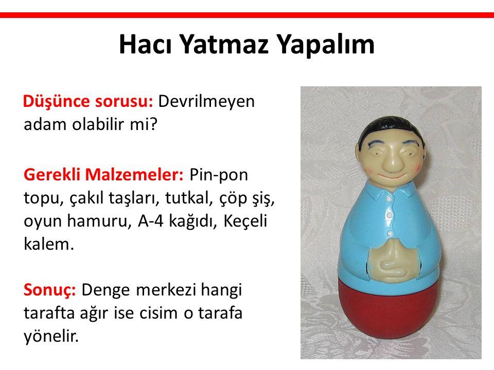 Hacı Yatmaz Yapalım Düşünce sorusu: Devrilmeyen adam olabilir mi? Gerekli Malzemeler: Pin-pon topu, çakıl taşları, tutkal, çöp şiş, oyun hamuru, A-4 k