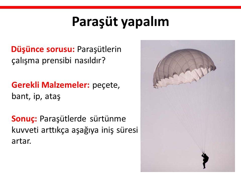 Paraşüt yapalım Düşünce sorusu: Paraşütlerin çalışma prensibi nasıldır? Gerekli Malzemeler: peçete, bant, ip, ataş Sonuç: Paraşütlerde sürtünme kuvvet