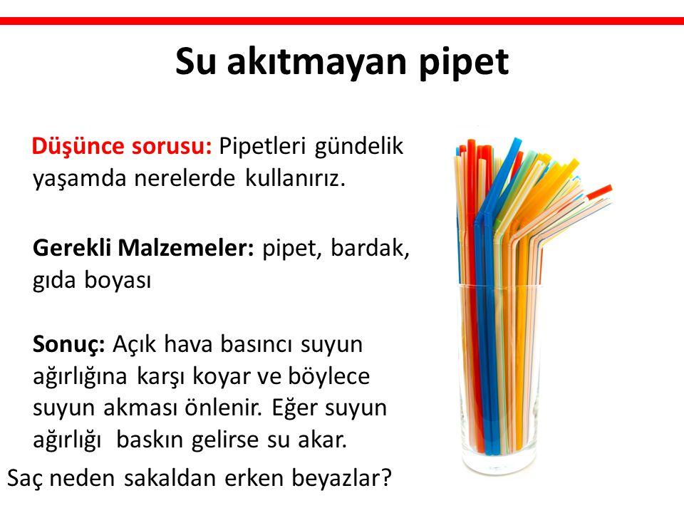 Su akıtmayan pipet Düşünce sorusu: Pipetleri gündelik yaşamda nerelerde kullanırız. Gerekli Malzemeler: pipet, bardak, gıda boyası Sonuç: Açık hava ba