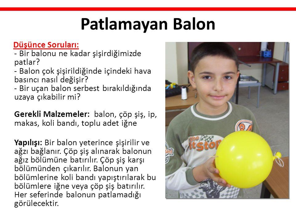 Patlamayan Balon Düşünce Soruları: - Bir balonu ne kadar şişirdiğimizde patlar? - Balon çok şişirildiğinde içindeki hava basıncı nasıl değişir? - Bir