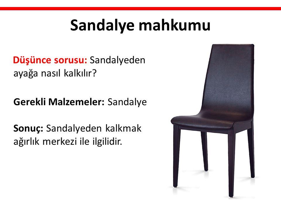 Sandalye mahkumu Düşünce sorusu: Sandalyeden ayağa nasıl kalkılır? Gerekli Malzemeler: Sandalye Sonuç: Sandalyeden kalkmak ağırlık merkezi ile ilgilid