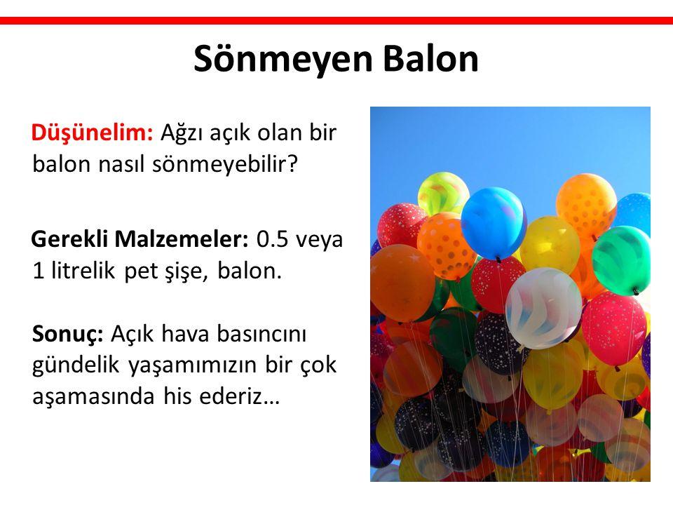 Sönmeyen Balon Düşünelim: Ağzı açık olan bir balon nasıl sönmeyebilir? Gerekli Malzemeler: 0.5 veya 1 litrelik pet şişe, balon. Sonuç: Açık hava basın