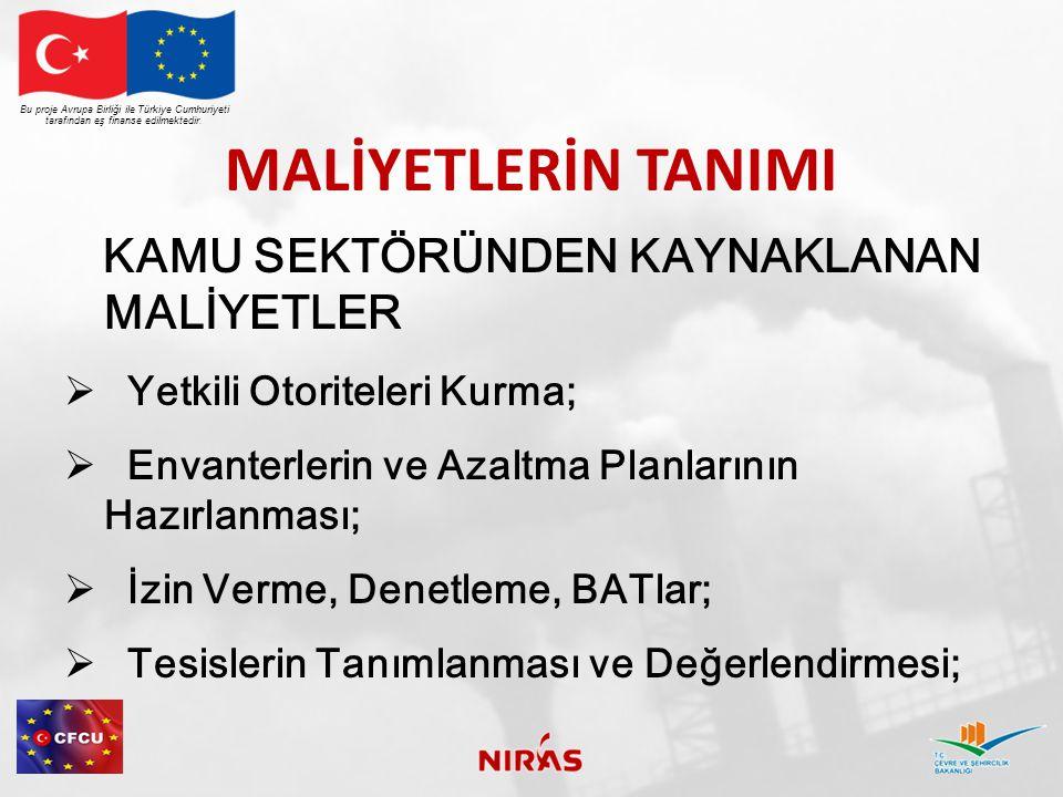 MALİYETLERİN TANIMI Bu proje Avrupa Birliği ile Türkiye Cumhuriyeti tarafından eş finanse edilmektedir. KAMU SEKTÖRÜNDEN KAYNAKLANAN MALİYETLER  Yetk