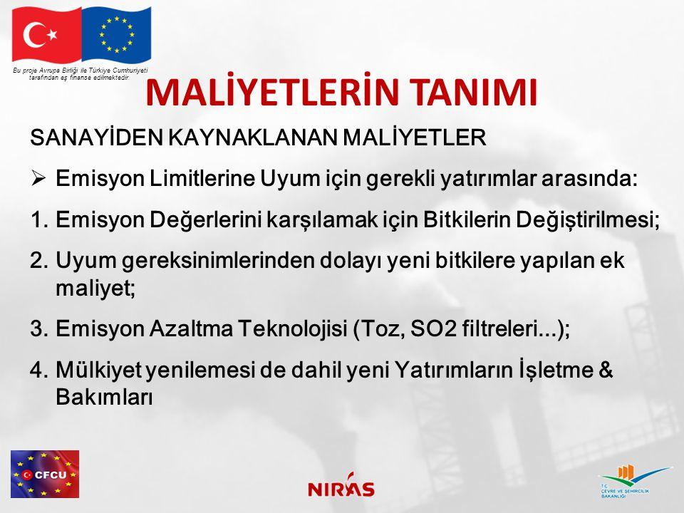 MALİYETLERİN TANIMI Bu proje Avrupa Birliği ile Türkiye Cumhuriyeti tarafından eş finanse edilmektedir. SANAYİDEN KAYNAKLANAN MALİYETLER  Emisyon Lim