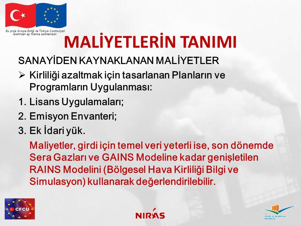MALİYETLERİN TANIMI Bu proje Avrupa Birliği ile Türkiye Cumhuriyeti tarafından eş finanse edilmektedir. SANAYİDEN KAYNAKLANAN MALİYETLER  Kirliliği a