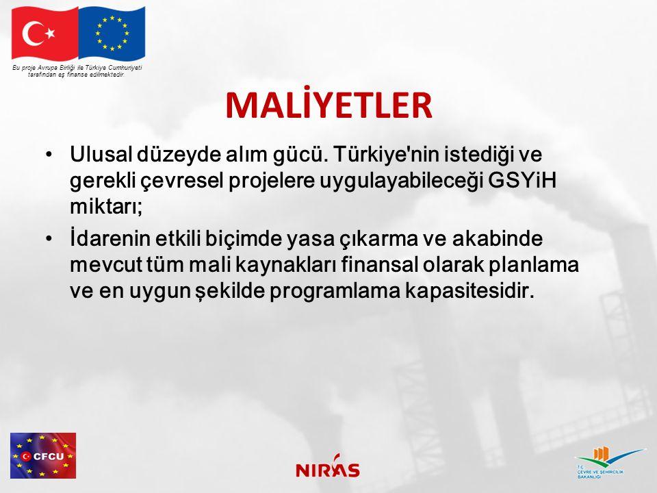 MALİYETLER Ulusal düzeyde alım gücü. Türkiye'nin istediği ve gerekli çevresel projelere uygulayabileceği GSYiH miktarı; İdarenin etkili biçimde yasa ç