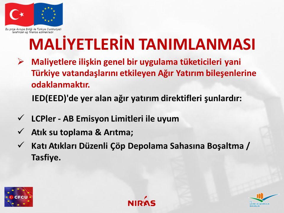 MALİYETLERİN TANIMLANMASI  Maliyetlere ilişkin genel bir uygulama tüketicileri yani Türkiye vatandaşlarını etkileyen Ağır Yatırım bileşenlerine odakl