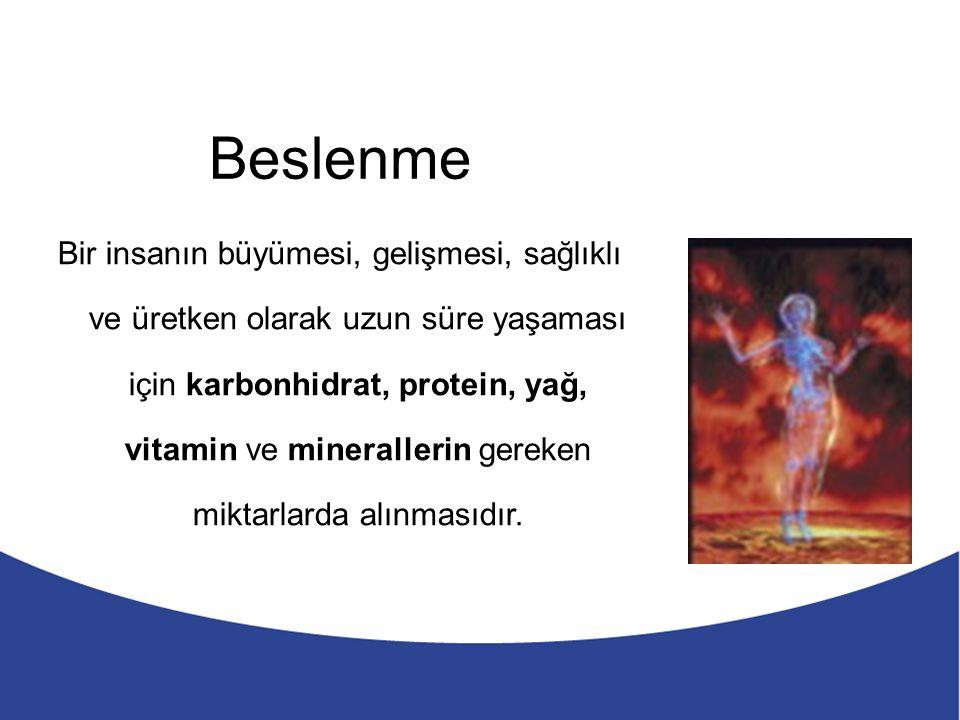 Beslenme 5 Besinler içerdikleri protein, yağ, karbonhidrat, vitamin ve minerallere göre belli gruplara ayrılırlar.