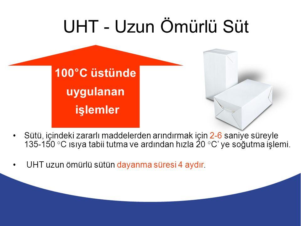 UHT - Uzun Ömürlü Süt Sütü, içindeki zararlı maddelerden arındırmak için 2-6 saniye süreyle 135-150 °C ısıya tabii tutma ve ardından hızla 20 °C' ye s